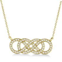 Multiple Infinity Diamond Pendant Necklace 14k Yellow Gold 0.34ct.