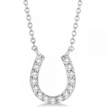 Pave Set Diamond Horseshoe Pendant Necklace 14k White Gold 0.15ct
