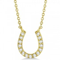 Pave Set Diamond Horseshoe Pendant Necklace 14k Yellow Gold 0.15ct