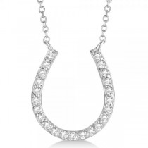 Pave Set Diamond Horseshoe Pendant Necklace 14k White Gold 0.20ct