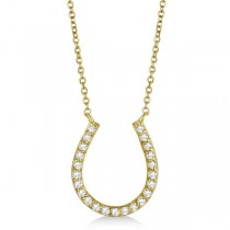 Pave Set Diamond Horseshoe Pendant Necklace 14k Yellow Gold 0.20ct