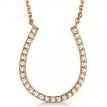 Pave Set Diamond Horseshoe Pendant Necklace 14k Rose Gold 0.25ct