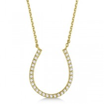 Pave Set Diamond Horseshoe Pendant Necklace 14k Yellow Gold 0.25ct