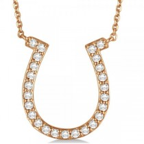 Pave Set Diamond Horseshoe Pendant Necklace 14k Rose Gold 0.40ct