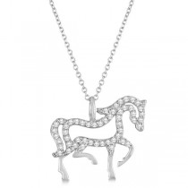 Diamond Galloping Horse Pendant Necklace 14k White Gold 0.25ct