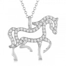 Diamond Galloping Horse Pendant Necklace 14k White Gold 0.25ct|escape