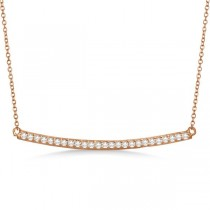 Pave Set Curved Round Diamond Bar Necklace 14k Rose Gold 0.25ct