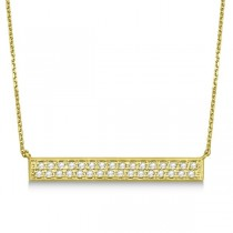 Double Row Horizontal Diamond Bar Necklace 14k Yellow Gold 0.33ct