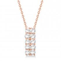 Double Row Diamond Drop Necklace 14k Rose Gold (1.01ct)
