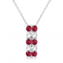 Double Row Ruby & Diamond Drop Necklace 14k White Gold (1.30ct)