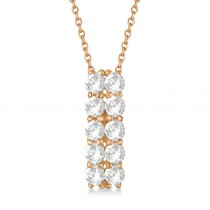 Double Row Diamond Drop Necklace 14k Rose Gold (2.00ct)