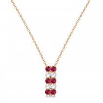 Double Row Ruby & Diamond Drop Necklace 14k Rose Gold (2.18ct)