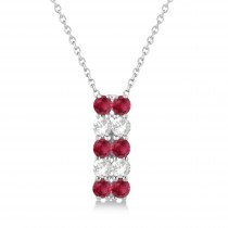 Double Row Ruby & Diamond Drop Necklace 14k White Gold (2.18ct)