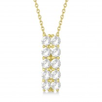 Double Row Diamond Drop Necklace 14k Yellow Gold (2.00ct)