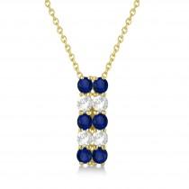 Double Row Sapphire & Diamond Drop Necklace 14k Yellow Gold (2.18ct)