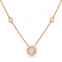 Diamond Halo Pendant Station Necklace in 14k Rose Gold (1.50 ctw)