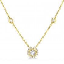 Diamond Halo Pendant Station Necklace in 14k Yellow Gold (1.50 ctw)
