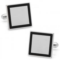Square Framed Engravable Cufflinks Silver Plate Stainless Steel