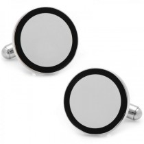 Circular Framed Engravable Cufflinks Silver Plate Stainless Steel