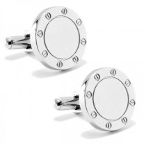 Personalized Cufflinks w/Bolt Like Engravable Fronts Stainless Steel