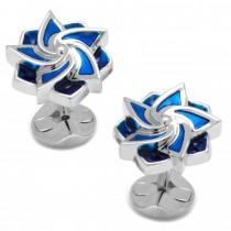 Men's Sterling Silver Plated Blue Pentagonal Flower Cuff Links