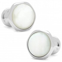 Men's Stainless Steel Mother of Pearl Magnetic Bloom Cuff Links