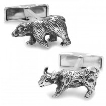Men's Sterling Silver Bull and Bear Cuff Links
