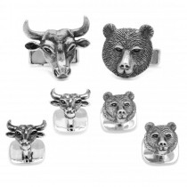 Men's Sterling Silver Engravable Bull and Bear Head Stud Set