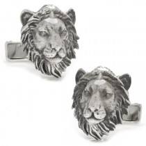Men's Sterling Silver Lion Head Cuff Links