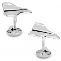 Men's Sterling Silver Paper Airplane Cuff Links