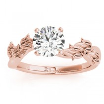 Solitaire Tulip Vine Leaf Engagement Ring Setting 14k Rose Gold