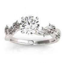 Solitaire Tulip Vine Leaf Engagement Ring Setting Palladium