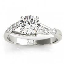 Diamond Accented Bypass Engagement Ring Setting 18k White Gold (0.20ct)
