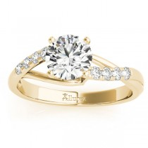 Diamond Accented Bypass Engagement Ring Setting 18k Yellow Gold (0.20ct)