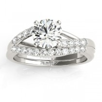 Diamond Accented Bypass Bridal Set Setting 14k White Gold (0.38ct)
