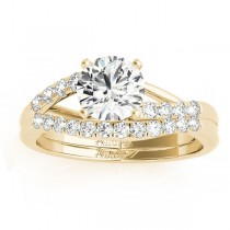 Diamond Accented Bypass Bridal Set Setting 14k Yellow Gold (0.38ct)