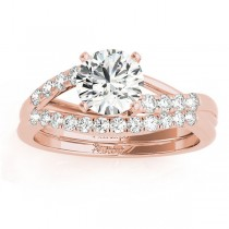 Diamond Accented Bypass Bridal Set Setting 18k Rose Gold (0.38ct)