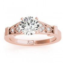 Diamond Heart Engagement Ring Vintage Style 14k Rose Gold (0.10ct)