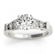 Diamond Heart Engagement Ring Vintage Style 14k White Gold (0.10ct)