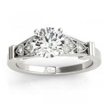 Diamond Heart Engagement Ring Vintage Style Palladium (0.10ct)