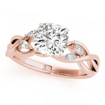 Twisted Cushion Diamonds Vine Leaf Engagement Ring 14k Rose Gold (1.00ct)