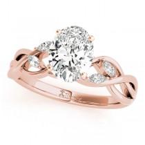 Twisted Oval Diamonds Vine Leaf Engagement Ring 14k Rose Gold (1.00ct)