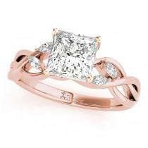 Twisted Princess Diamonds Vine Leaf Engagement Ring 14k Rose Gold (0.50ct)