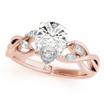 Twisted Pear Diamonds Vine Leaf Engagement Ring 14k Rose Gold (1.00ct)