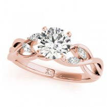 Twisted Round Diamonds Vine Leaf Engagement Ring 14k Rose Gold (1.00ct)
