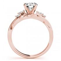 Twisted Round Diamonds Vine Leaf Engagement Ring 14k Rose Gold (1.00ct)