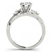 Heart Diamonds Vine Leaf Engagement Ring 14k White Gold (1.00ct)