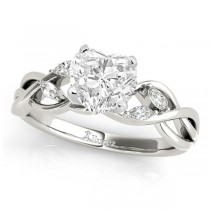 Heart Diamonds Vine Leaf Engagement Ring 14k White Gold (1.50ct)