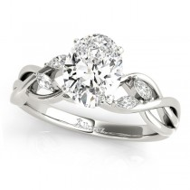 Oval Diamonds Vine Leaf Engagement Ring 14k White Gold (1.00ct)