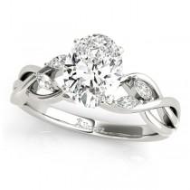 Oval Diamonds Vine Leaf Engagement Ring 14k White Gold (1.00ct)